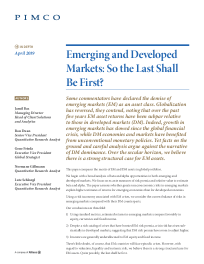 Emerging and Developed markets: So the last shall be first