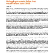 Beleggingsexperts delen hun voornemens voor 2019