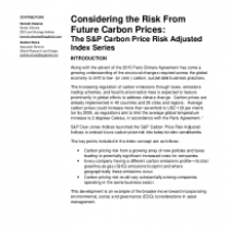 Considering the Risk From Future Carbon Prices: The S&P Carbon Price Risk Adjusted Index Series