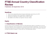 FTSE Annual Country Classification Review