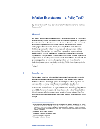 Inflation Expectations – a Policy Tool?
