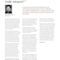 Is the CNY being used as a trade weapon?