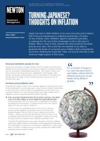 Turning Japanese? Thoughts on inflation