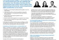 The practical considerations of ESG in multi-asset portfolios