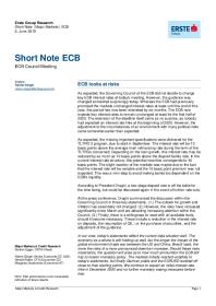 ECB looks at risks