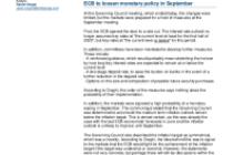 ECB to loosen monetary policy in September