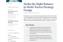 Strike the Right Balance in Multi-Factor Strategy Design