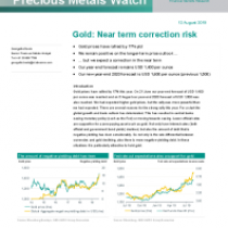 Gold: Near term correction risk