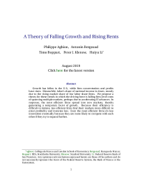 A Theory of Falling Growth and Rising Rents