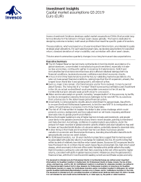 Capital market assumptions: Q3 19 Outlook Euro