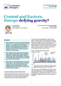 Central and Eastern Europe defying gravity?