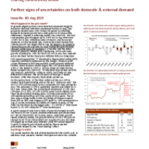 Further signs of uncertainties on both domestic & external demand