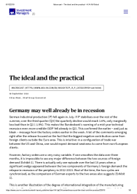 Germany may well already be in recession
