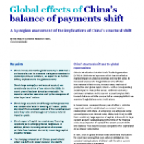 Global effects of China's balance of payments shift