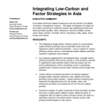 Integrating Low-Carbon and Factor Strategies in Asia