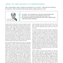 Japan: Tax Hike Unlikely To Harm Economy