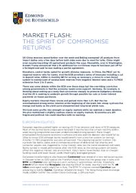 Market Flash: The Spirit Of Compromise Returns