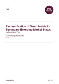 Reclassification of Saudi Arabia to Secondary Emerging Market Status