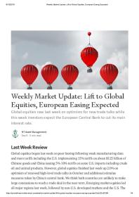 Weekly Market Update: Lift to Global Equities, European Easing Expected