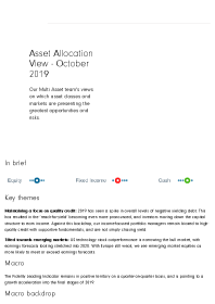 Asset Allocation View – October 2019