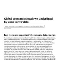 Global economic slowdown underlined by weak sector data