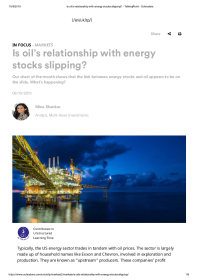 Is oil's relationship with energy stocks slipping?