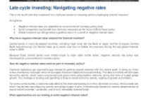 Late cycle investing: Navigating negative rates