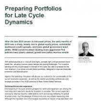 Preparing Portfolios for Late Cycle Dynamics