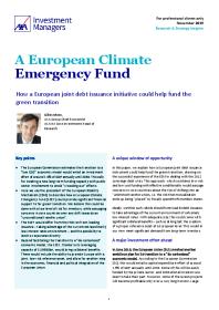 A European Climate Emergency Fund