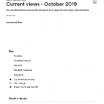 Current views – October 2019 – Wealth Management