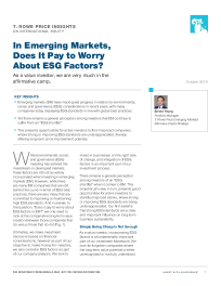 In Emerging Markets, Does It Pay to Worry About ESG Factors?