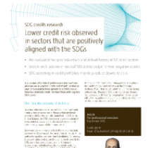 Lower credit risk observed in sectors that are positively aligned with the SDGs