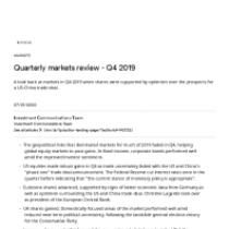 Quarterly markets review – Q4 2019