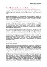 Global Sustainable Equity: actualiteitenen kansen