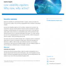 Low volatility equities: Why now, why active?