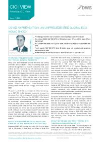 Covid-19 Prevention: An Unprecedented Global Economic Shock