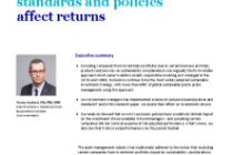 How responsible investingstandards and policiesaffect returns