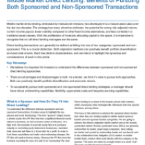 Middle Market Direct Lending: Benefits of Pursuing Both Sponsored and Non-Sponsored Transac