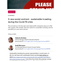 A new social contract – sustainable investing during the Covid-19 crisis