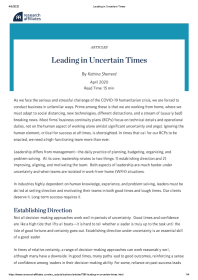 Leading in Uncertain Times
