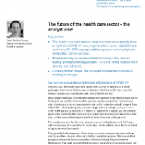 The future of the health care sector – the analyst view