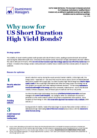 Why now for US Short Duration High Yield Bonds?
