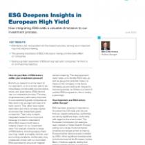 ESG Deepens Insights in European High Yield