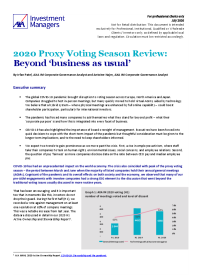 2020 Proxy Voting Season Review: Beyond 'business as usual'