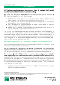 BNP Paribas Asset Management survey shows Covid-19 prompts rise in social considerations within investment decision making