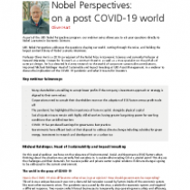 Nobel Perspectives: on a post COVID-19 world