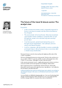 The future of the travel & leisure sector: The analyst view