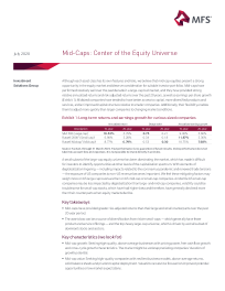 Mid-Caps: Center of the Equity Universe