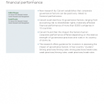 How corporate governance factors can influence financial performance