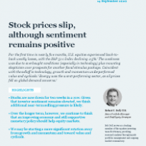 Stock prices slip, although sentiment remains positive